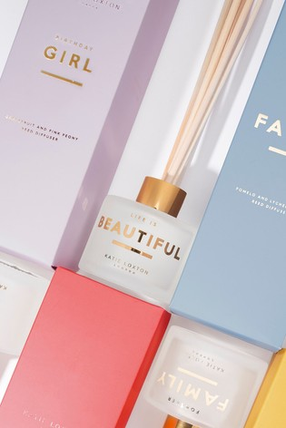 Katie Loxton Sentiment Reed Diffuser | Birthday Girl | Grapefruit and Pink Peony | 100ml