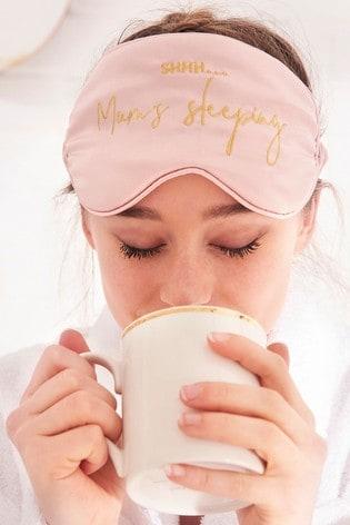 Katie Loxton Satin Eye Mask | Shh Mums Sleeping | Pale Pink | 11 x 21.5cm