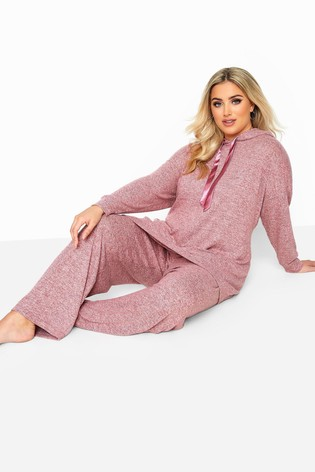 Yours Pink Curve Marl Wide Leg Lounge Pants