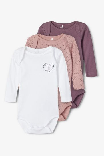 Name It Pink Heart Polka Print Long Sleeve Bodysuit 3 Pack