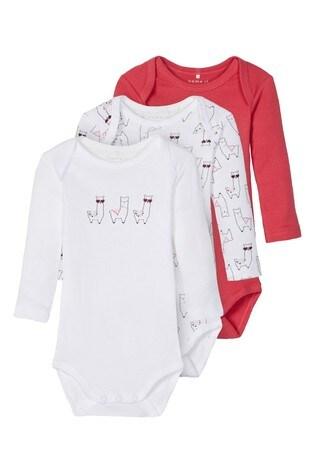 Name It Pink Llama Print Long Sleeve Bodysuit 3 Pack