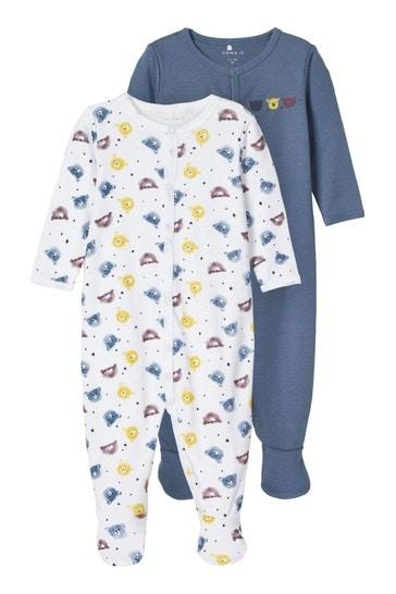Name It Blue Bear Print 2 Pack Sleepsuit