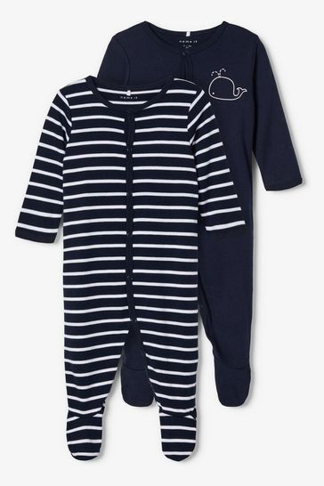 Name It Navy Stripe and Whale Print 2 Pack Sleepsuit