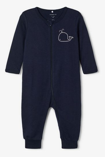 Name It Navy Stripe and Whale Print 2 Pack Long Sleeve Sleepsuit