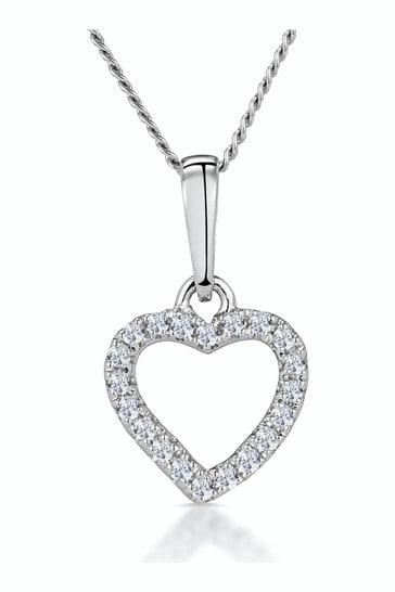 The Diamond Store 9k White Gold Stellato Diamond Heart Necklace