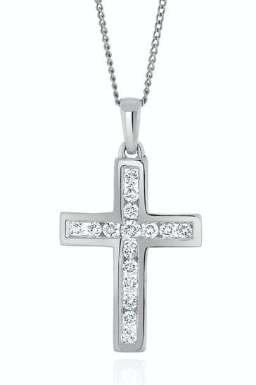 The Diamond Store 9k White Gold Lab Diamond Cross Necklace Channel Set 0.25ct H/Si