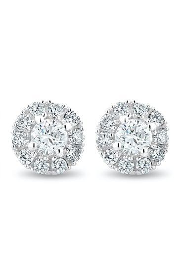 The Diamond Store 9k White Gold Halo Lab Diamond Earrings 0.50ct H/Si Set