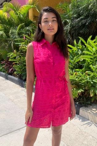 Pink Printed Sleeveless Shirt Dress