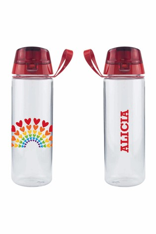 Personalised Rainbow Hearts Bottle by Ice London
