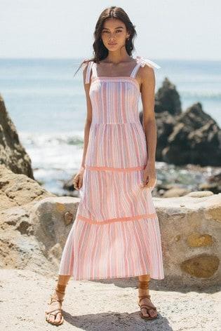 Lipsy Rainbow Stripe Tie Strap Tiered Maxi Dress