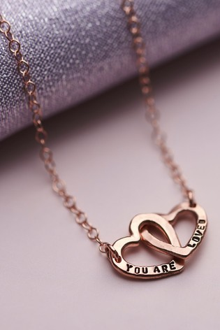 Personalised Double Heart Names Necklace by Posh Totty