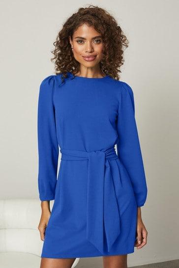 Lipsy Cobalt Puff Sleeve Tie Waist Shift Dress