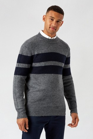 Burton Black Chest Stripe Cosy Crew Neck Jumper