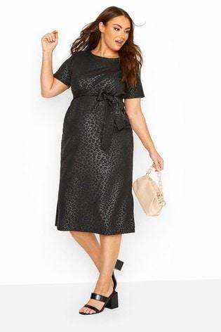 Bump It Up Black Maternity Animal Print Belted Midi Dress