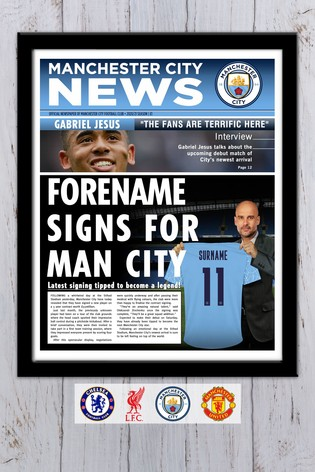 Personalised Football Club Newspaper Framed Print by Personalised Football Gifts