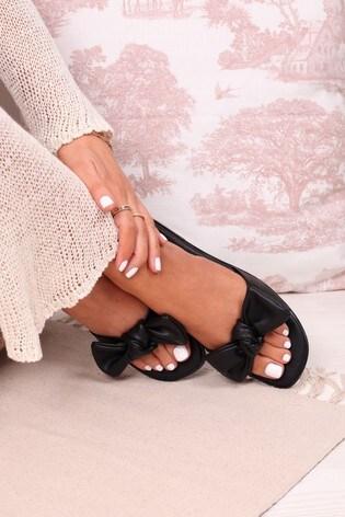 Linzi Black Honest Bow Detail Slip On Slider