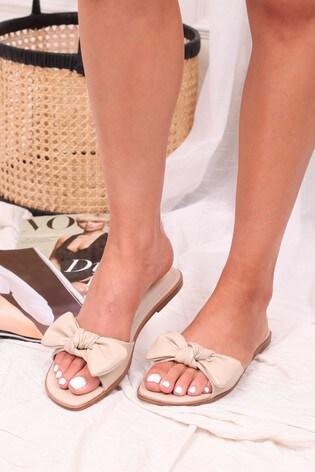 Linzi Nude Honest Bow Detail Slip On Slider