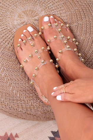 Linzi Gold Smitten Perspex Gladiator Trim Sandal