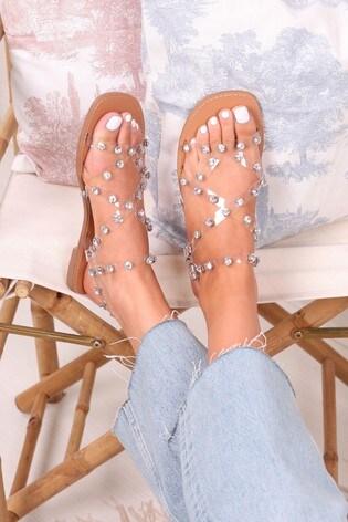 Linzi Silver Smitten Perspex Gladiator Trim Sandal