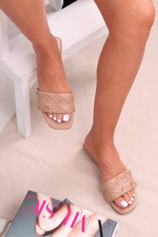 Linzi Brown Luxe Milan Weaved Upper Flat Slip On Slider