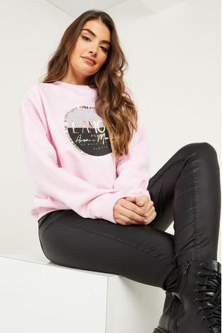 Quiz Pink Slogan Print Sweatshirt