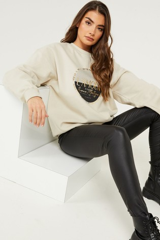 Quiz Cream Slogan Print Sweatshirt