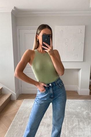 Pretty Lavish Green Billie Ribbed Top