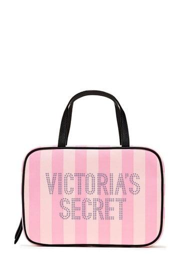 Victoria's Secret Signature Stripe Jetset Cosmetic Bag