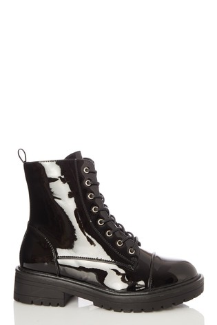 Quiz Black Black Patent Lace Up Military Boot