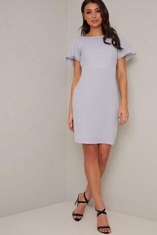 Chi Chi London Blue Lace insert Bodycon Midi Dress