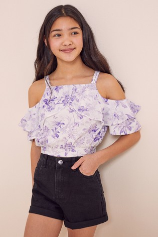 Lipsy White Cold Shoulder Woven Top