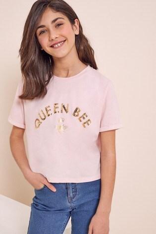 Lipsy Pink Queen Bee Foil Print Tee