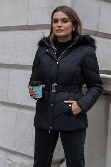 Lipsy Black Regular Belted Padded Jacket