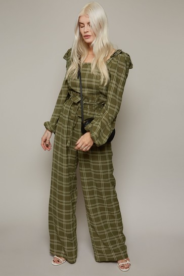 Little Mistress Green Ebury Check-Print Paperbag Trousers