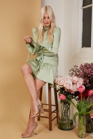 Little Mistress Green Elysee Sage Satin Mini Shift Dress