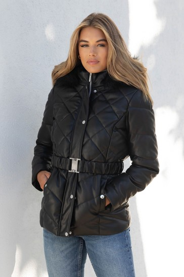 Lipsy Faux Leather Regular Belted Padded Jacket
