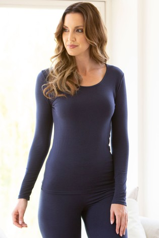 Charnos Navy Second Skin Thermal Long Sleeve Top
