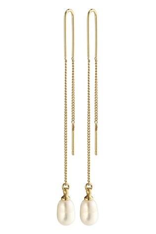PILGRIM Gold Plated Chloe Earrings with Freshwater Pearl Drop