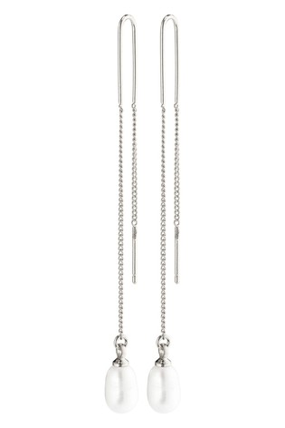 PILGRIM Silver Plated Chloe Earrings with Freshwater Pearl Drop