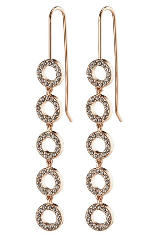 PILGRIM Rose Gold Plated Tessa Crystal Drop Earrings