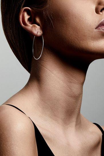 PILGRIM Silver Plated Tilly Large Hoop Earrings