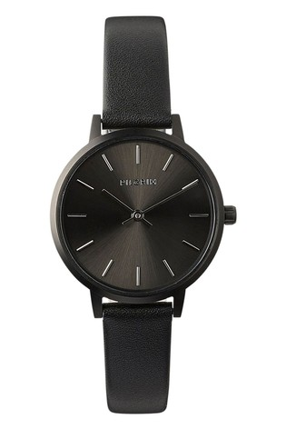 PILGRIM Black and Hematite Plated Nerine Leather Strap Watch