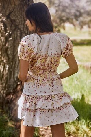 Lipsy Ivory Printed Puff Sleeve Tiered Mini Dress