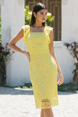 Lipsy Yellow Lace Bodycon Midi Dress