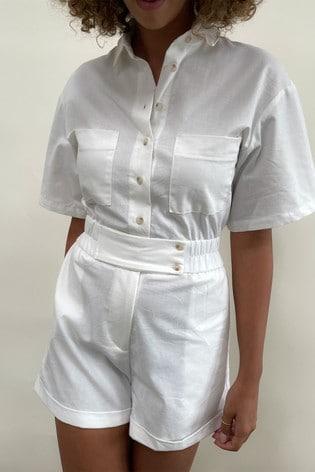 Pretty Lavish White Sloane Playsuit