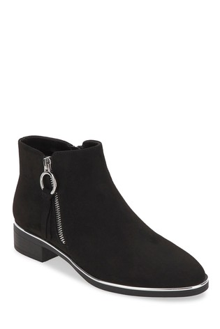 Simply Be Black Wide Fit Outside Zip Flat Ankle Boot