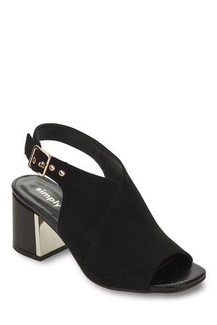 Simply Be Black Wide Fit Metal Detail Block Heel Shoeboot
