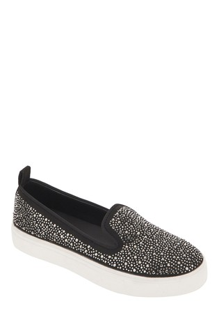 Simply Be Black Wide Fit Heat Sealed Studded Slip On