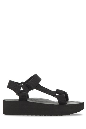 Simply Be Black Eco Friendly Fabric Tie Sandal Extra Wide Fit