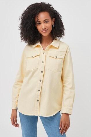 Pieces Pastel Yellow Denim Shirt